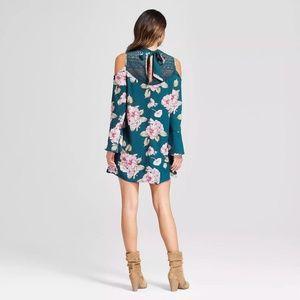 Xhilaration Dresses - Xhilaration Teal Floral Cold Shoulder Dress Size M